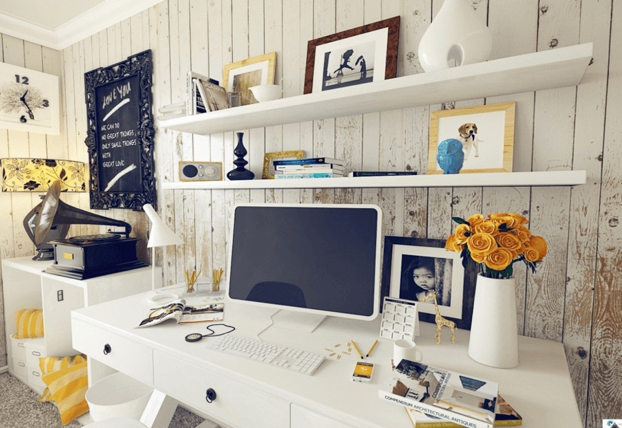 6-home-office-interior-design-ideas-inspiring-beautiful-cozy-work-area-vintage-style-walls-shabby-paint-white-computer-desk-with-drawers-shelves-decor-photos-flowers-lamp