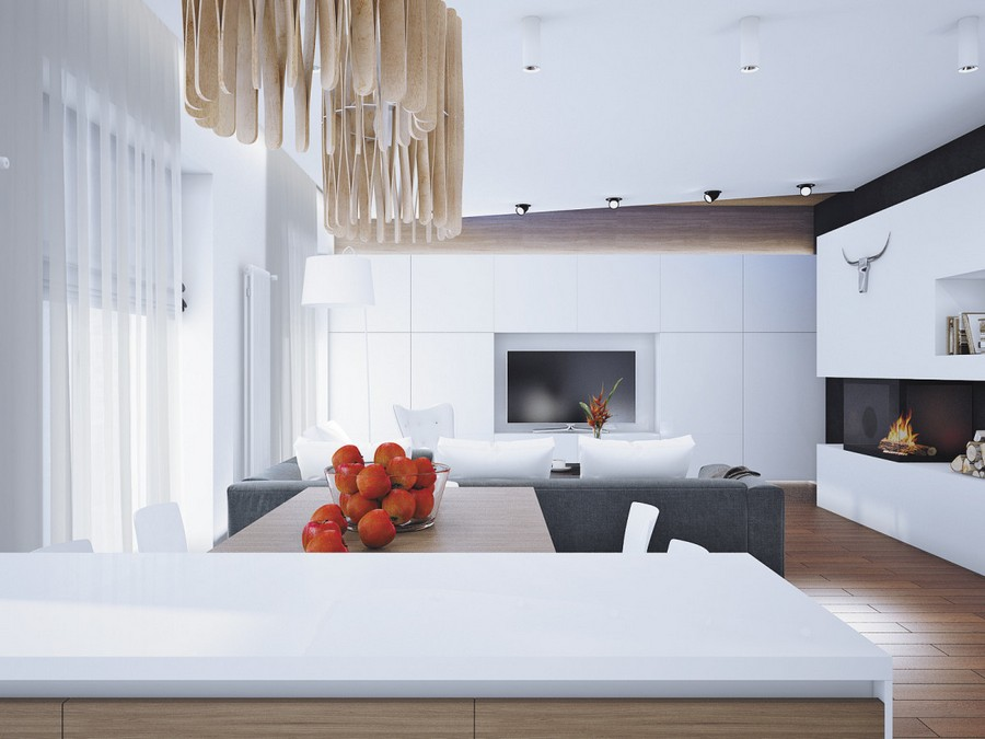 6-open-plan-minimalist-style-living-room-kitchen-dining-area-interior-white-walls-plasterboard-fireplace-surround-firewood-gray-sofa-wooden-pendant-lamp-TV-set-cabinets