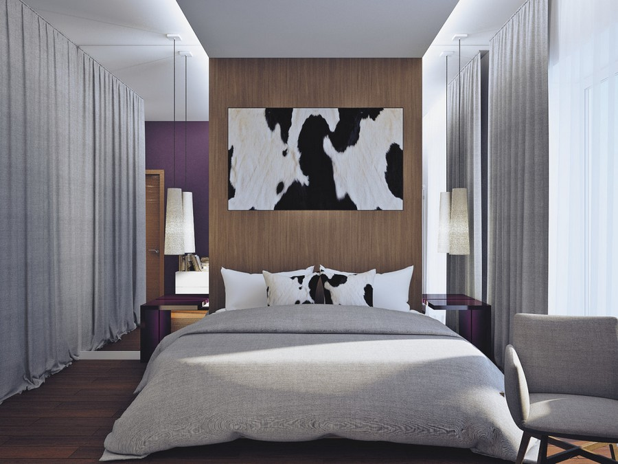 7-1-contemporary-chalet-style-bedroom-parquet-boards-on-the-wall-cow-skin-wall-decor-full-length-mirrors-pendant-lamps-gray-bedspread-arm-chair-curtained-walk-in-closet