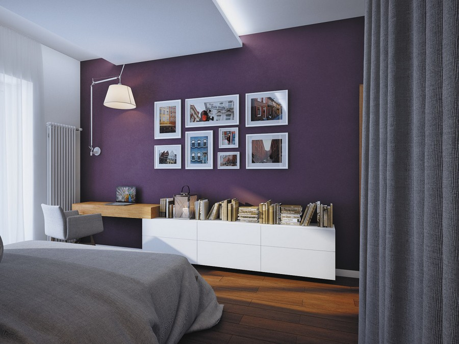 7-2-contemporary-chalet-style-bedroom-parquet-purple-blackberry-wall-decor-big-huge-wall-lamp-gray-chair-work-area-white-cabinets-wall-art-tall-radiator