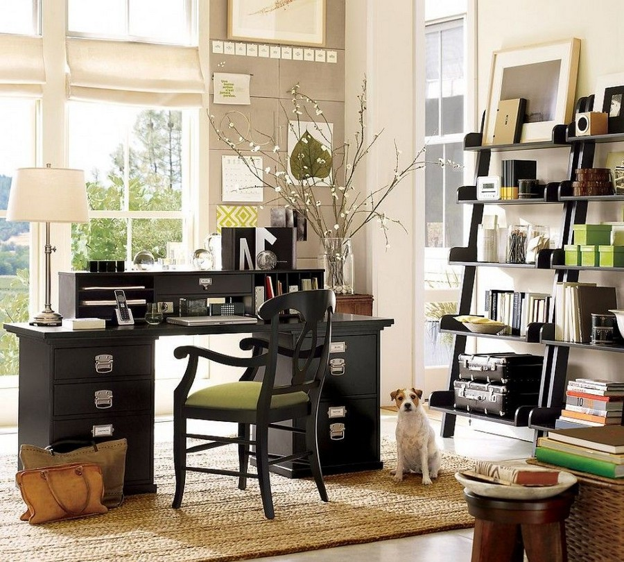 7-home-office-interior-design-ideas-inspiring-beautiful-cozy-work-area-black-wooden-desk-classical-traditional-style-chair-table-lamp-spring-dog-ladder-bookshelves-beige-walls
