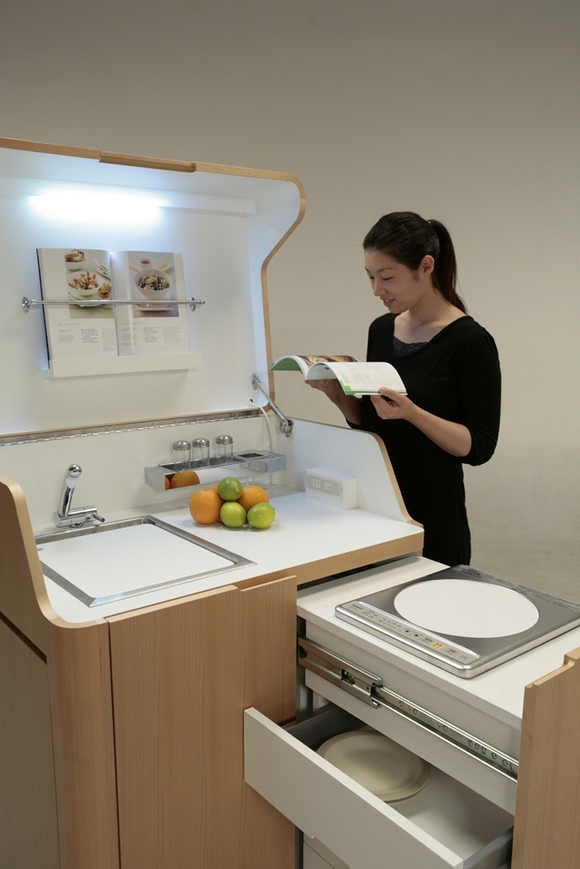 7-multifunctional-small-mini-kitchen-set-by-Kenchikukagu-Japan-sink-light