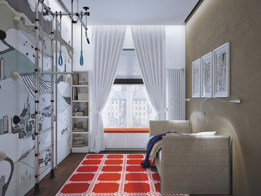 8-1-kid's-room-boy's-bedroom-interior-design-gray-brown-wall-sofa-lamps-LED-strip-light-vertical-bars-gym-white-curtains-red-rug-window-seat-bench
