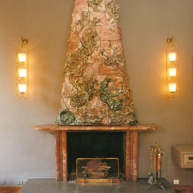 8-Italian-villa-interior-design-by-Osvaldo-Borsani-luxurious-fireplace-by-Lucio-Fontant-sculptural-glazed-ceramic-tiles-natural-marble-mantelpiece