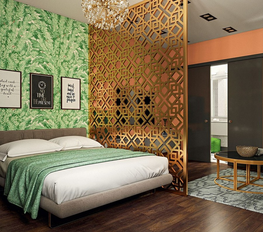 8-contemporary-style-bedroom-living-room-interior-design-perforated-screen-room-divider-green-floral-wallpaper-bedspread-bed-cover-sliding-doors-chandelier-round-metal-coffee-table-geometrical-carpet