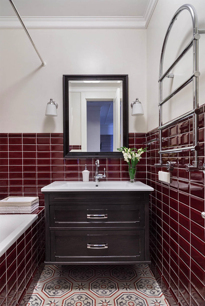 9-white-and-cherry-red-bathroom-interior-traditional-style-wall-mounted-vanity-unit-sink-black-mirror-frame-towel-drying-radiator-bathtub-painted-wall-concrete-floor-tiles