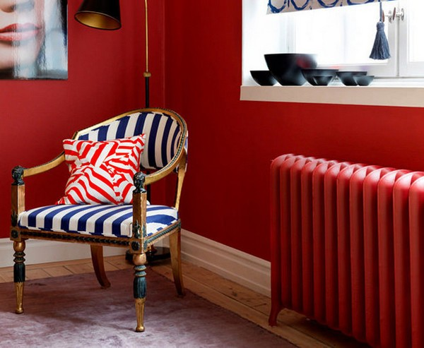 10-attractive-decorative-radiator-design-ideas-stylish-red-painted-eclectic-style-living-room-black-and-white-arm-chair-floor-lamp-zebra-print-pattern