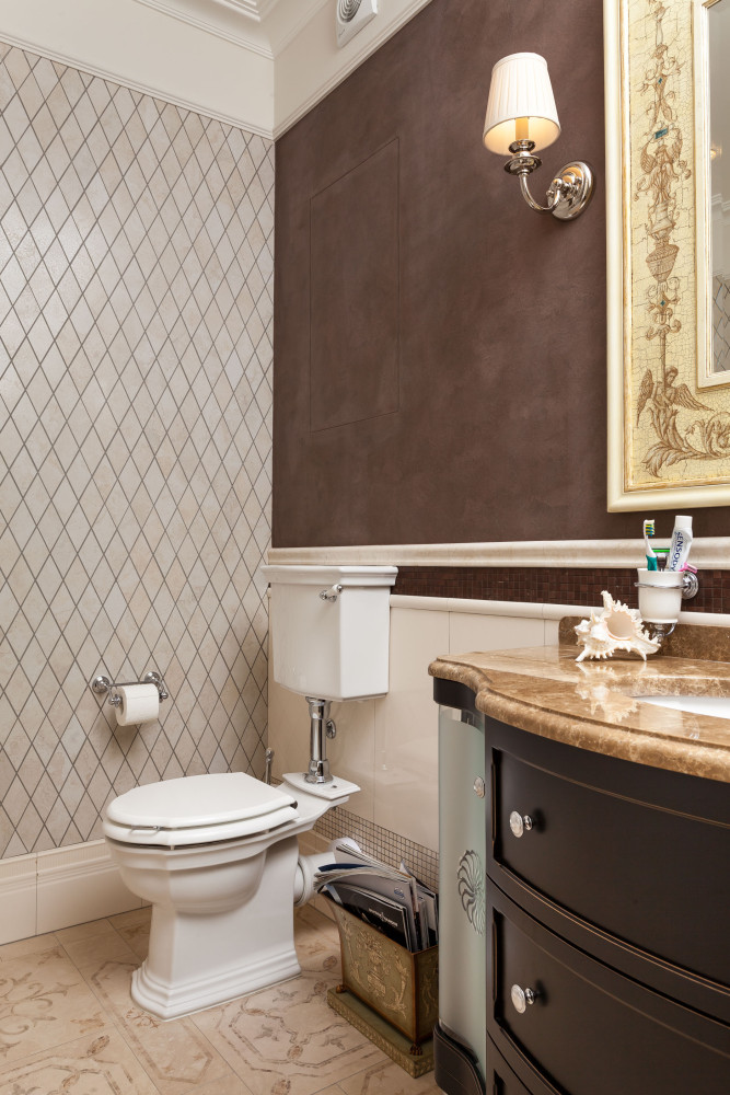 12-2-classical-elegant-English-style-interior-design-bathroom-WC-beige-brown-black-diamond-shaped-wall-tiles-vanity-unit-stone-countertop-mirror-wall-lamp-sconce-toilet