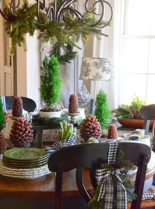 14-pinecones-pine-fir-spruce-cones-on-candle-holders-home-decor-Christmas-decoration-ideas-eco-style-table-setting-wrought-chandelier-dining-chairs