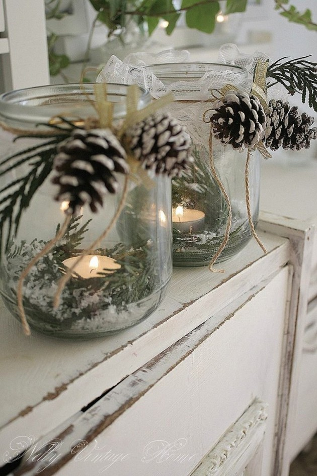 19-2-pinecones-pine-fir-spruce-cones-home-decor-Christmas-decoration-ideas-eco-style-jam-jars-candles-branches-vintage-style