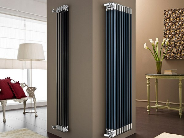 2-attractive-decorative-radiator-design-ideas-stylish-contemporary-style-vertical-model-living-room-dark-blue-beige-walls-golden-console-table-sofa-floor-lamp-hallway
