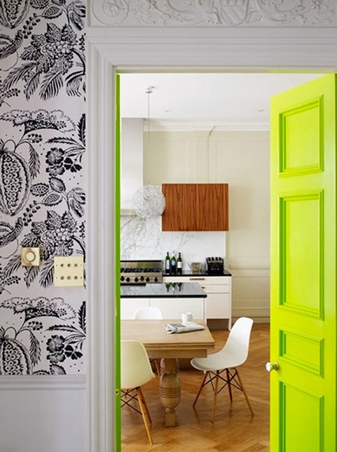2-how-to-add-bright-color-to-home-interior-neutral-kitchen-beige-white-wood-lime-green-door-door-frame