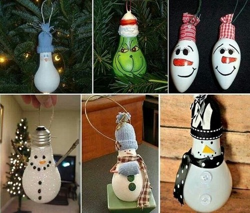 3-3-old-light-bulbs-recycling-reuse-ideas-DIY-handmade-painted-Christmas-tree-decorations-snowman