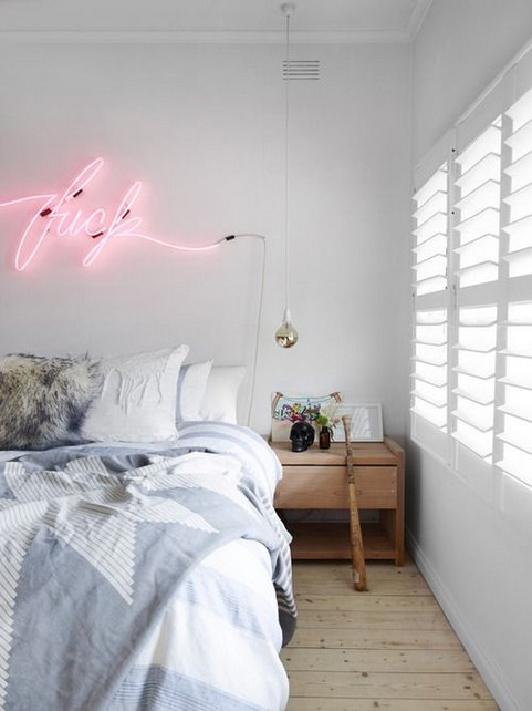 5-how-to-add-bright-color-to-home-interior-Scandinavian-style-bedroom-white-wall-window-wooden-floor-hardwood-nightstand-neon-lights-wall-art
