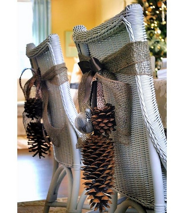 5-pinecones-pine-fir-spruce-cones-home-decor-Christmas-decoration-ideas-dining-chairs-sackcloth-eco-style