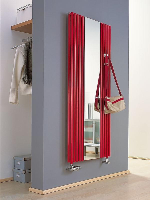 6-attractive-decorative-radiator-design-ideas-stylish-hallway-interior-gray-white-walls-red-vertical-radiator-narrow-mirror-rack-coat-handbag-shoe-boxes