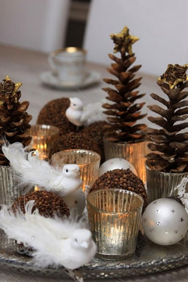 6-pinecones-pine-fir-spruce-cones-home-decor-Christmas-decoration-ideas-eco-style-silver-tray-birds-candles-balls
