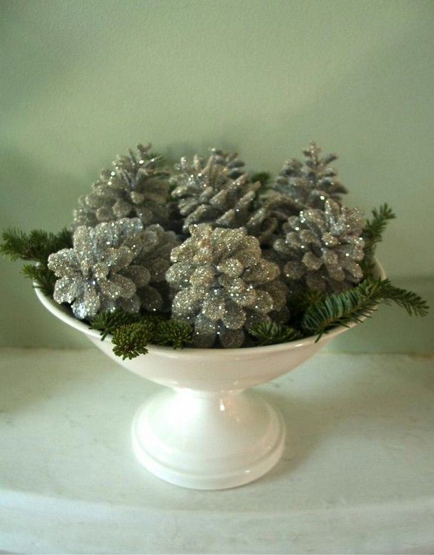 9-1-pinecones-pine-fir-spruce-cones-home-decor-Christmas-decoration-ideas-eco-style-silver-painted-in-a-bowl-glitter