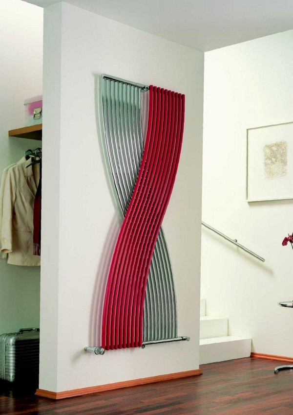 9-attractive-decorative-radiator-design-ideas-stylish-intertwined-matte-stainless-steel-and-red-pipes-vertical-model-mudroom-hallway-contemporary-style