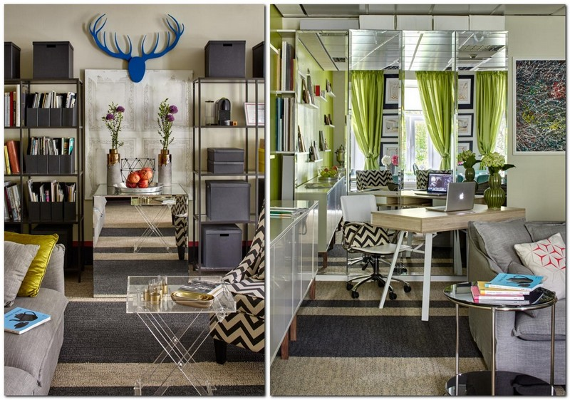 1-3-bright-cheerful-white-gray-and-green-office-interior-design-in-contemporary-style-mirrored-wall-work-area-desk-shelves-coffee-table-stripy-carpeting
