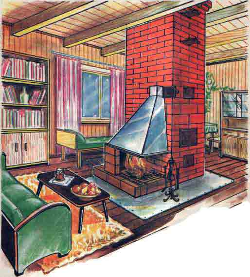 1-wood-burning-stove-in-a-garden-office-cottage-country-house-brick-chimney-sketch-green-sofa-coffee-table-living-room-bookcase-sofa-curtains-rugs-cozy-room-log-timber-house