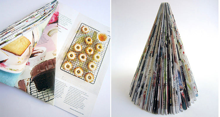 2-DIY-mini-Christmas-tree-for-table-setting-from-an-old-magazine-recycling-idea-remake