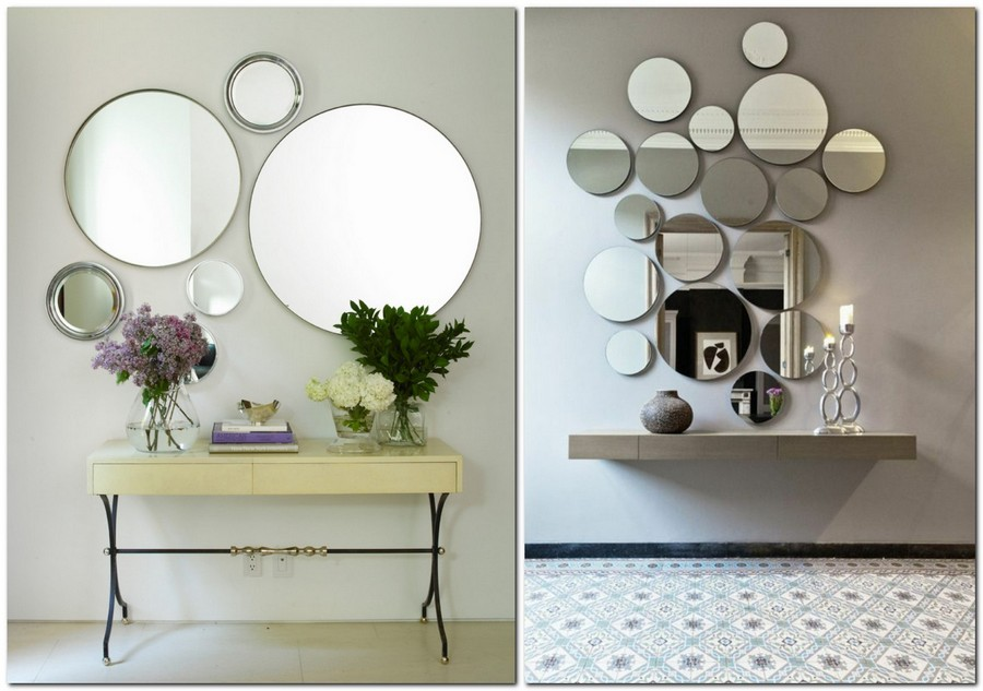 2-randomly-hung-arranged-asymmetrically-round-mirrors-in-interior-design-home-decor-console-tables-hallway
