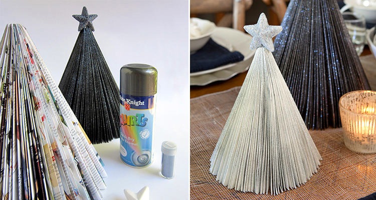 3-DIY-mini-Christmas-tree-for-table-setting-from-an-old-magazine-recycling-idea-remake