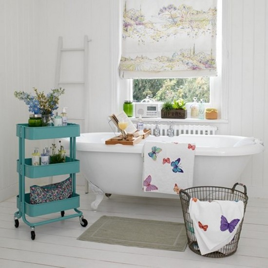 4-vintage-retro-style-bathroom-interior-white-walls-floor-gray-rug-claw-foot-bath-bathtub-roman-blinds-herbs-window-laundry-basket-butterfly-print-blue-serving-trolley-storage-ladder