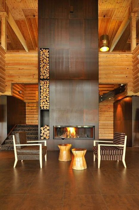 0 Wood Burning Fireplace In Living Room Interior