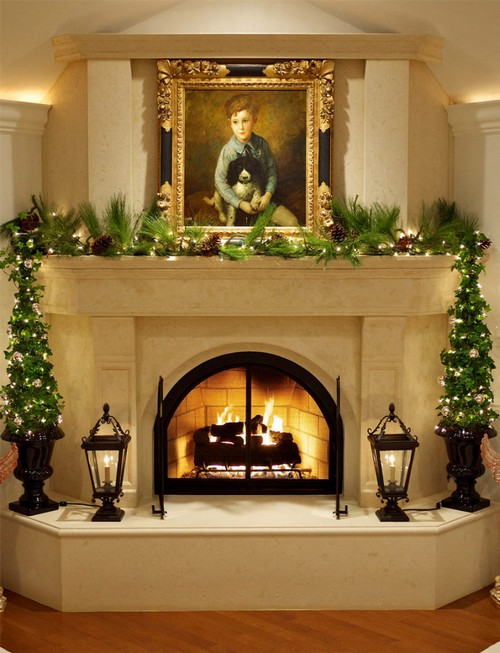 1-1-wood-burning-fireplace-ideas-decoration-in-interior-design-concrete-finishing-Christmas-decorations-boy-portrait-classical-style-wrought-lanterns-decor