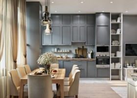 2-2-modern-light-Scandinavian-style-interior-open-plan-concept-living-room-dining-room-kitchen-gray-beige-cabinets-TV-set-lounge-dining-table-chairs
