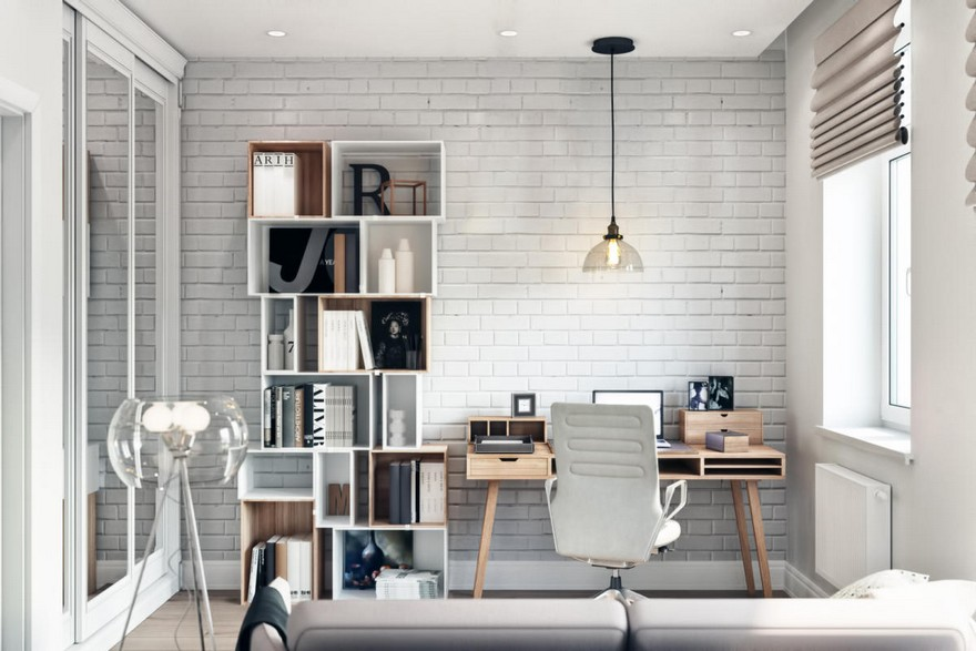 3-3-modern-light-Scandinavian-style-interior-study-home-office-work-area-faux-brick-wall-masonry-asymmetrical-shelves-sofa-glass-floor-lamp-Roman-blinds-desk-chair-built-in-closet