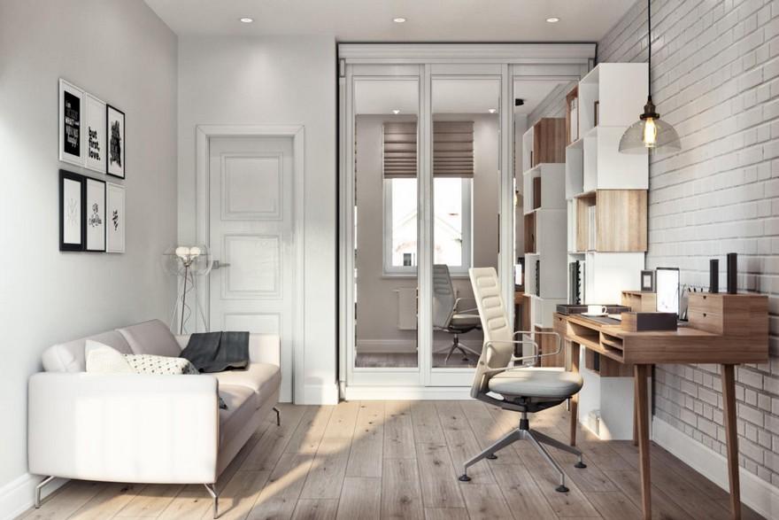 3-4-modern-light-Scandinavian-style-interior-study-home-office-work-area-faux-brick-wall-masonry-asymmetrical-shelves-sofa-glass-floor-lamp-desk-chair-built-in-closet-pendant-lamp