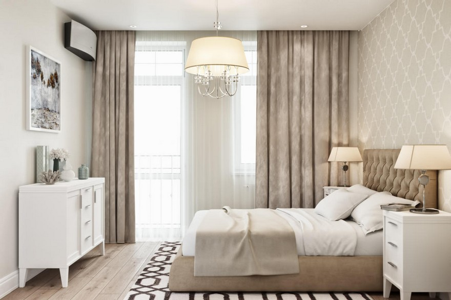 4-1-modern-light-Scandinavian-style-interior-bedroom-beige-white-gray-capitone-bed-geometrical-wallpaper-chest-of-drawers-rug-carpet-nightstand-bedside-lamps-air-conditioner