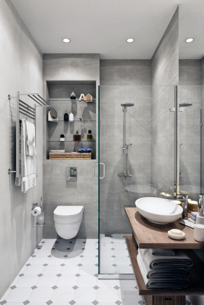 5-1-modern-light-gray-white-Scandinavian-style-interior-bathroom-shower-cabin-walk-in-wall-mounted-toilet-WC-towel-drying-radiator-built-in-shelves-top-mounted-sink-wash-basin-wooden-countertop