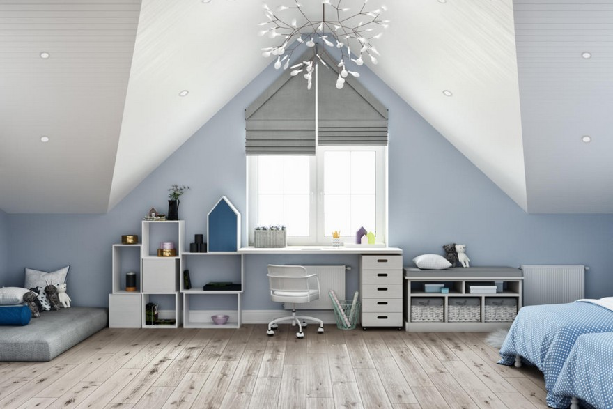 6-1-modern-light-blue-gray-white-Scandinavian-style-interior-kid's-room-girl's-attic-floor-sloped-ceiling-bedroom-parquet-floor-geometrical-shelves-desk-chest-of-drawers-two-beds-mattress-roman-blinds