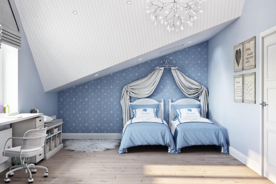 6-2-modern-light-blue-gray-Scandinavian-style-interior-kid's-room-girl's-attic-floor-sloped-ceiling-bedroom-wallpaper-chandelier-canopy-two-beds-desk-chair-fur-rug