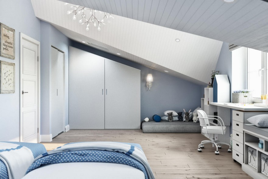 6-3-modern-light-blue-gray-white-Scandinavian-style-interior-kid's-room-girl's-attic-floor-sloped-ceiling-bedroom-desk-chair-mattress-play-area-built-in-closet-chandelier