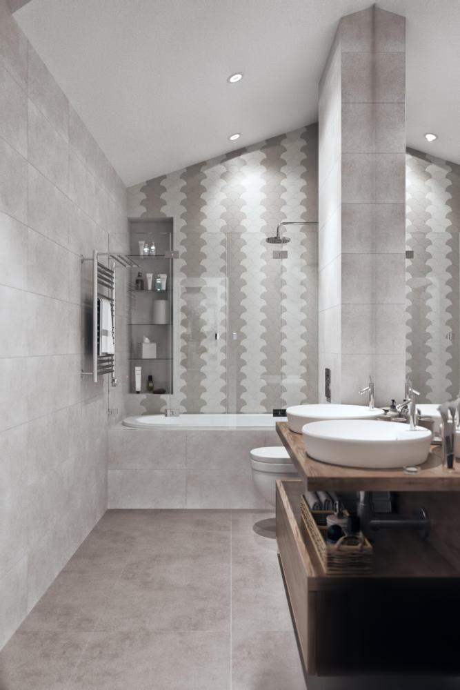 7-1-modern-light-gray-Scandinavian-style-interior-bathroom-built-in-shelves-shower-bathtub-double-sink-wash-basins-wooden-countertop-sloped-ceiling-attic-floor-wall-mounted-toilet-WC