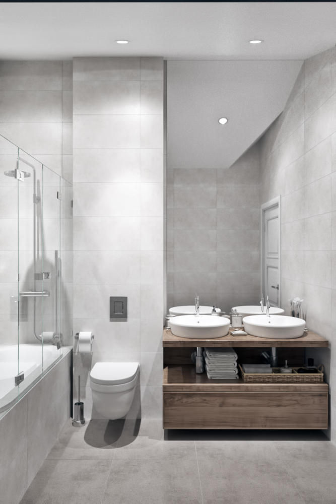 7-2-modern-light-gray-Scandinavian-style-interior-bathroom-bathtub-glass-partition-double-sink-wash-basins-wooden-countertop-sloped-ceiling-attic-floor-wall-mounted-toilet-WC