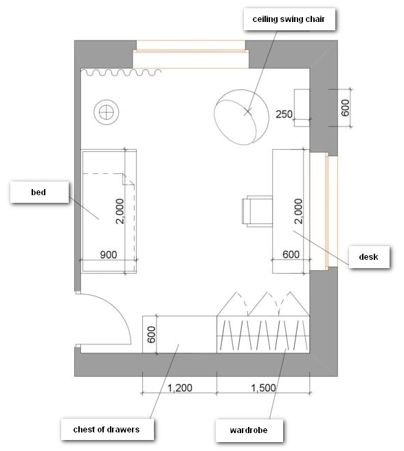 1-school-girl's-kid's-room-interior-plan-scheme-zoning-two-windows-17-square-meters-rectangular-room-desk-bed-wardrobe-chest-of-drawers-ceiling-swing-chair