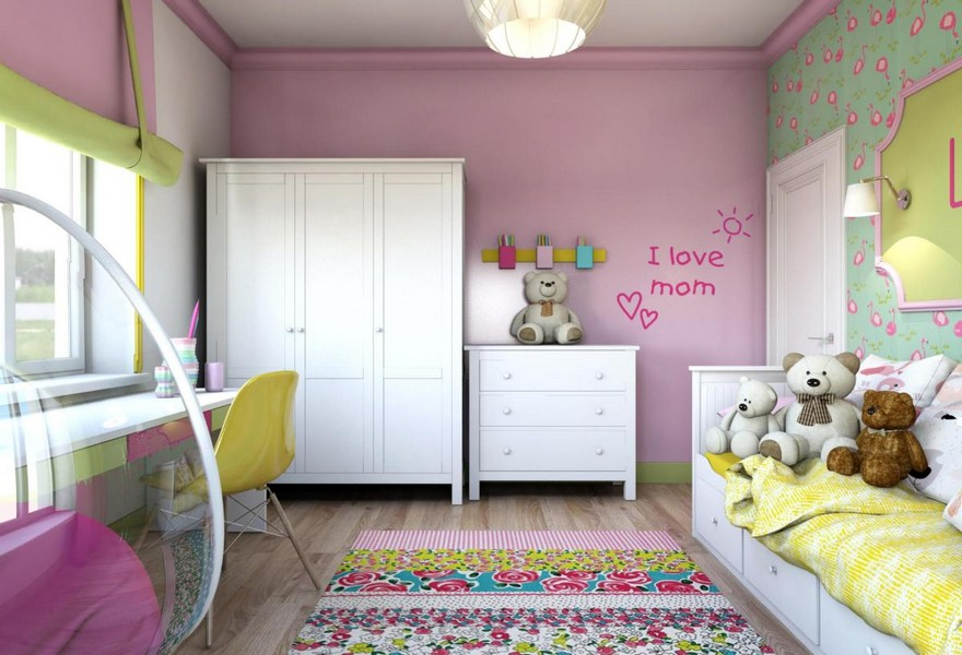 2-light-pink-school-girl's-kid's-room-interior-with-yellow-accents-white-furniture-wardrobe-chest-of-drawers-carpet-bed-desk-study-area-carpet-roman-blinds