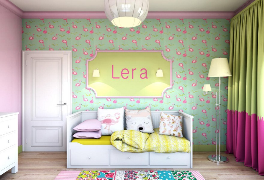 3-light-pink-school-girl's-kid's-room-interior-with-yellow-accents-flamingo-wallpaper-green-white-furniture-door-floor-lamp-sleeping-area-carpet-sconces-chest-of-drawers