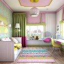 4-light-pink-school-girl's-kid's-room-interior-with-yellow-accents-white-furniture-desk-bed-carpet-two-windows-roman-blinds-ceiling-swing-chair-moldings