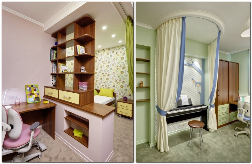 0-twin-girls-room-interior-design-green-pink-blue-bright-wallpaper-Yet-Jet-collection-by-Prestigious-Wallcovering-see-through-shelves-desks-piano-music-corner
