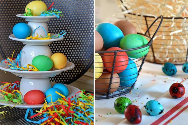 2-2-Easter-table-setting-ideas-table-decoration-bright-for-kids-yellow-green-red-dyed-eggs-egg-basket-serving-plate