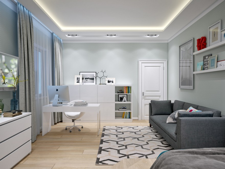 3-3-contemporary-style-room-light-gray-and-blue-geometrical-motifs-carpet-sofa-TV-set-desk-work-area-shelves