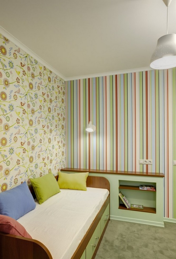 3-girls-room-interior-design-green-pink-bright-striped-wallpaper-Yet-Jet-collection-by-Prestigious-Wallcovering-sofa-floral-motifs-blue