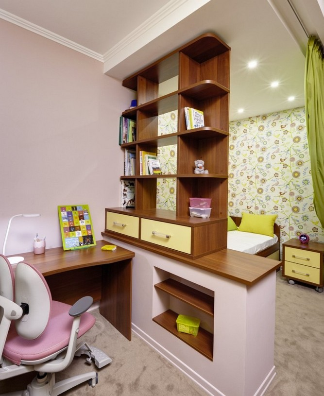 4-girls-room-interior-design-green-pink-bright-wallpaper-Yet-Jet-collection-by-Prestigious-Wallcovering-see-through-shelves-desk-curtained-sleep-area-study